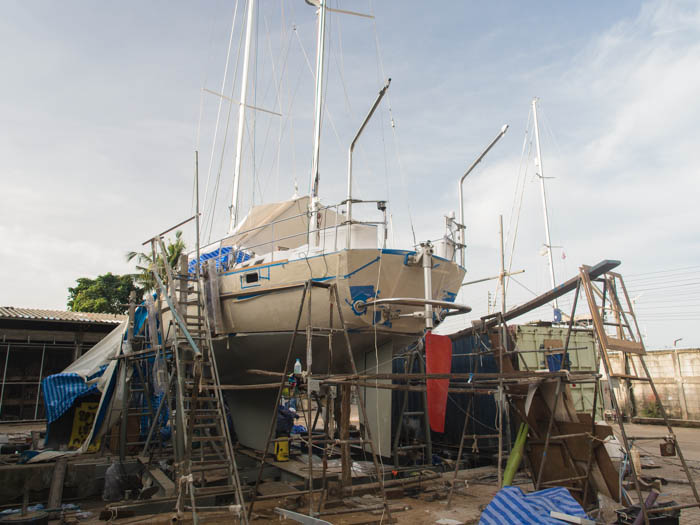 s/v Esper in the boat yard